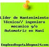 Líder de Mantenimiento Técnico// ingeniero mecanico y/o Automotriz en Maní