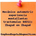 Mecánico automotriz experiencia montallantas tractomulas &8211; Ibagué en Ibagué
