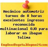 Mecánico automotriz turnos de 8 horas excelentes ingresos reconocida multinacional OJO para laborar en ibague Tolima