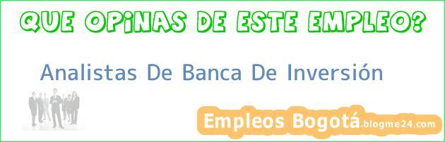 Analistas De Banca De Inversión