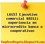 L615] Ejecutivo comercial &8211; experiencia en microcredito banca o cooperativas