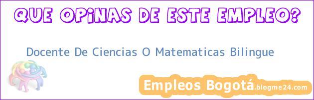 Docente De Ciencias O Matematicas Bilingue