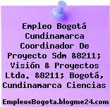 Empleo Bogotá Cundinamarca Coordinador De Proyecto Sdm &8211; Visión & Proyectos Ltda. &8211; Bogotá, Cundinamarca Ciencias