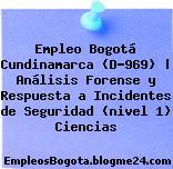 Empleo Bogotá Cundinamarca (D-969) | Análisis Forense y Respuesta a Incidentes de Seguridad (nivel 1) Ciencias