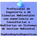 Profesional de Ingeniería o de Ciencias Ambientales con experiencia en Consultorias o Auditorias en Sistemas de Gestion Ambiental