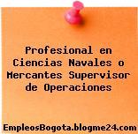 Profesional En Ciencias Navales O Mercantes – Supervisor De Operaciones