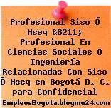 Profesional Siso Ó Hseq &8211; Profesional En Ciencias Sociales O Ingeniería Relacionadas Con Siso Ó Hseq en Bogotá D. C. para Confidencial