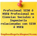 Profesional SISO ó HSEQ Profesional en Ciencias Sociales o Ingeniería relacionadas con SISO ó HSEQ