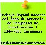 Trabajo Bogotá Docente del área de Gerencia de Proyectos de Construcción | [INR-736] Enseñanza
