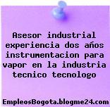 Asesor industrial experiencia dos años instrumentacion para vapor en la industria tecnico tecnologo