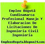 Empleo Bogotá Cundinamarca Profesional Manejo Y Elaboracion De Licitaciones De Ingenieria Civil Ingeniería