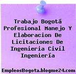 Trabajo Bogotá Profesional Manejo Y Elaboracion De Licitaciones De Ingenieria Civil Ingeniería