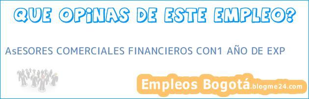 AsESORES COMERCIALES FINANCIEROS CON1 AÑO DE EXP