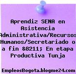 Aprendiz SENA en Asistencia Administrativa/Recursos Humanos/Secretariado o a fin &8211; En etapa Productiva Tunja