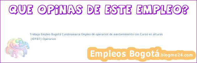 Trabajo Empleo Bogotá Cundinamarca Empleo de operarios de mantenimiento con Curso en alturas | (ID197) Operarios