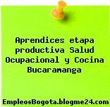 Aprendices etapa productiva Salud Ocupacional y Cocina Bucaramanga