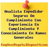 Analista Expedidor Seguros De Cumplimiento Con Experiencia En Cumplimiento Y Conocimiento En Ramos Generales