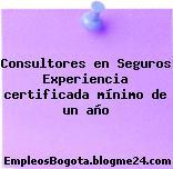Consultores en Seguros Experiencia certificada mínimo de un año
