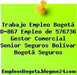 Trabajo Empleo Bogotá D-867 Empleo de 576736 Gestor Comercial Senior Seguros Bolívar Bogotá Seguros