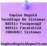 Empleo Bogotá Tecnólogo De Sistemas &8211; Fusagasugá &8211; Facatativá (OHX841) Sistemas