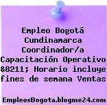 Empleo Bogotá Cundinamarca Coordinador/a Capacitación Operativo &8211; Horario incluye fines de semana Ventas