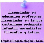 licenciadas en educacion profesoras licenciadas en lengua castellana pedagogia infantil normalistas filosofia y letras