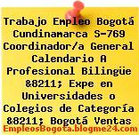 Trabajo Empleo Bogotá Cundinamarca S-769 Coordinador/a General Calendario A Profesional Bilingüe &8211; Expe en Universidades o Colegios de Categoría &8211; Bogotá Ventas