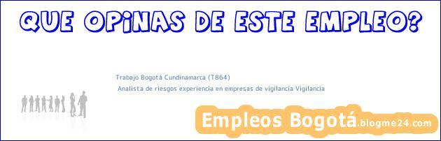 Trabajo Bogotá Cundinamarca (T864) | Analista de riesgos experiencia en empresas de vigilancia Vigilancia